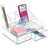 mDesign Organizer scrivania Compatto Penne per la cameretta e LUfficio Eccellente portaoggetti per gomme graffette ECC Portapenne da scrivania - Trasparente